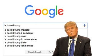 Donald Trump with Google Search auto completions