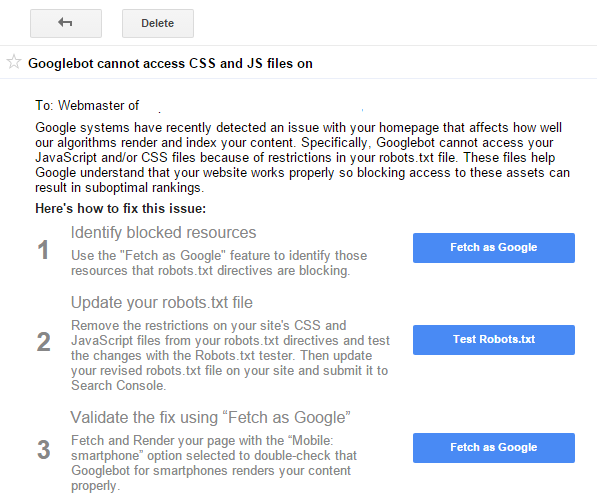 Google Search Console Warnings
