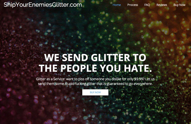 ship your enemies glitter landing page experience