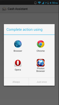 app intent filter actions on Android device