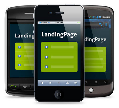 Mobile app landing pages on different smartphones