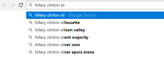 Hillary Clinton Google Auto Complete function