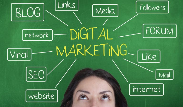 Digital marketing concept with blog, followers,media,forum,like,internet,website,seo, viral