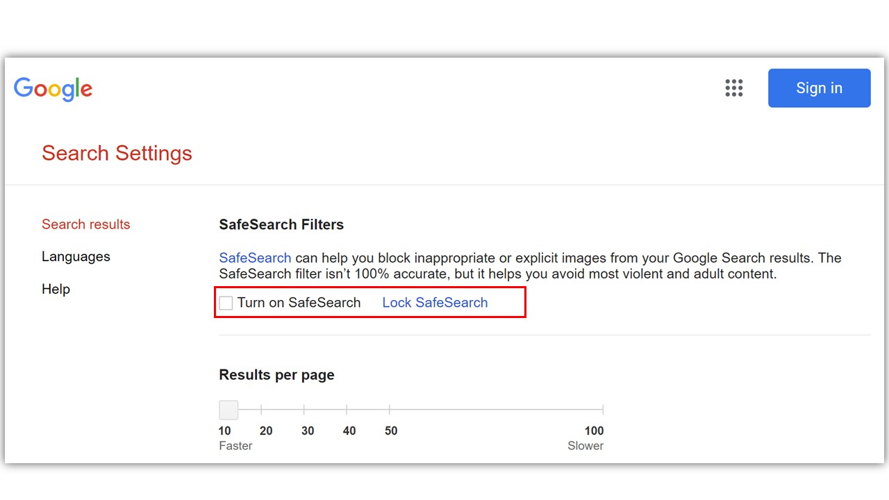 toggle safe search off and on google